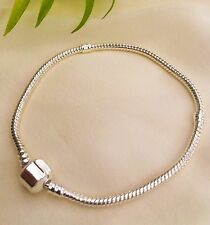 Silver European Snake Bracelet Fits Euro Charms Beads 19cm Gift Idea Free Bag UK
