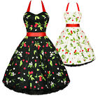 Hearts And Roses London Cherry Print Rockabilly Pinup Party Swing Prom Dress UK