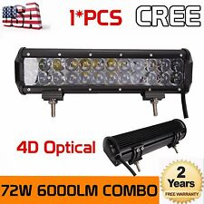 4D 12INCH 72W CREE LED LIGHT BAR WORK SPOT FLOOD BEAM CAR BOAT DRIVING 72W 14""