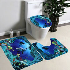 3Pcs Toilet Ocean Seat Cover Pad Cartoon Bathroom Bath Non-Slip Lid Mat Rug Set