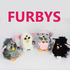Vintage Lot of 4 Working Furbys With Tags Gray,White,Black,Spotted, Tiger 1998