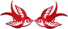 Lot of 2 bird tattoo swallow dove sparrow biker appliques iron-on patches red C