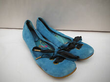 Clarks Indigo Womens Size 5M Teal Suede Ballet Flats Satin Ribbons On Toes