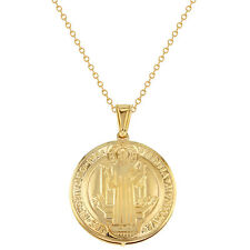 18k Gold Plated Saint Benedict Necklace Pendant Reversible Religious Medal 19""