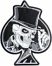 Reaper Top Hat Skull Ace Of Spades Biker Rider Big XL Embroidered Back Patch 11""