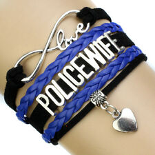 Custom Infinity Love POLICE Family Bracelet Proud Self Heart Cop Charm wristlet