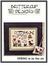"""""""Spring is in the Air"""" Cross Stitch Pattern by BRITTERCUP DESIGNS Cats - Animals"""