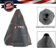 NEW TRD Red Stitches Black Retainer Leather Shifter Shift Gear Knob Boot Cover
