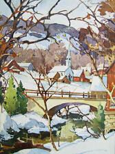 Vintage art Garnet Hazard Canada Winter village bridge Creek scene