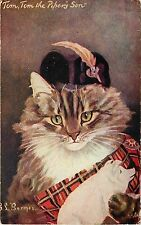 1907 Art Postcard A/S GL Barnes Dressed Cat in Tartan w Pig, Tom the Piper's Son