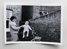 c1967 B/W Photograph. Little Boy Sitting on Motorcycle MGF829D, With Mother