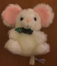 """Old Russ Tiny White Rabbit with Ribbon 3.5"""""""
