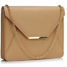 CLUTCH hand BAG purse nude flap with shoulder chain faux leather 0307