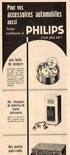 PHILIPS AUTO RADIO BOITES DE SECOURS CHARGEURS BATTERIES PUB 1956 FRENCH AD