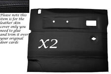 BLACK LEATHER 2X FRONT DOOR CARDS SKIN COVERS FITS LAND ROVER DEFENDER 90/110