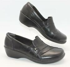 Clarks Women's Black Leather Slip On Wedge Comfort Loafer Clogs Size 8M Shoes