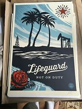 "OBEY Giant Shepard Fairey 2016 ""Lifeguard Not On Duty"" Lithograph Signed"