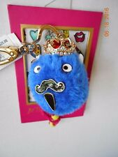 BETSEY JOHNSON BLUE KING FURRY KEY CHAIN KEY FOB NEW  GREAT GIFT!!