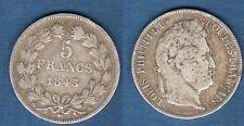 Louis Philippe Ier , 1830 - 1848 Tranche Relief Tete Laurée 1843 B Rouen TB