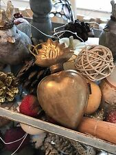 ANTIQUED GOLDEN TONED SACRED HEART REPRODUCTION RELIQUARY BOX