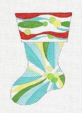 Tropical Poinsettia Mini Stocking handpaint Needlepoint Canvas Raymond Crawford