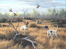 Birds Up by David Drinkard Giclee on Canvas quail hunting scene bird dogs