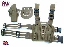 Airsoft CQC drop leg holster plateforme pistolet Serpa TAN sable de jambe g17 g18 UK
