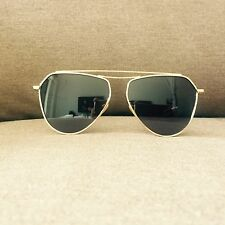Negro y Oro Aviador De Gran Tamaño Vintage Geek Retro de Moda Gafas de sol 60s 80s