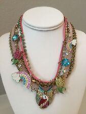 NWT Betsey Johnson multi strand pink Swan Rainbow beaded Tulip flower Necklace
