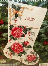 """1993 BUCILLA CHRISTMAS ROSES 16"""" STOCKING Counted Cross Stitch Kit #33335 - NEW"""