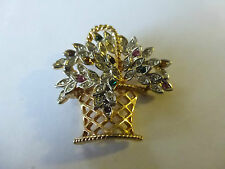 BROCHE VINTAGE EN PLAQUE OR ET CRISTAL