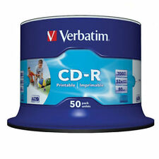 50 CD-R PRINTABLE Verbatim 100 % Vergini Vuoti Stampabili 52 X 700 Mb 43438