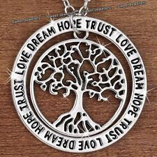 Silver Tree Pendant Necklace Engraved Love Xmas Gift For Her Girlfriend Women B1