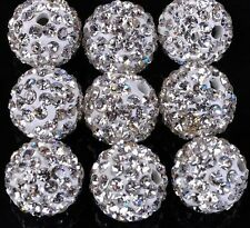 50pcs/lot 12mm White micro pave disco crystal shamballa beads bracelet spacer