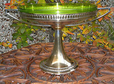 Antique Art Deco Neo Classical Centre Piece Bowl Green Glass Liner Silver Plate