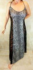 ANIMAL PRINT SEXY PLUS SIZE SHINY LACY WIDE LACE SIDES LONG NIGHTGOWN 2X 3X EUC