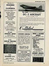 1951 Mallard Aviation Ad Doulgas DC-3 for Sale Teterboro New Jersey C-47 C-53