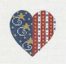 SP.ORDER ~ Patriotic Heart ~ Red, White & Blue w/ Stars Needlepoint Canvas Danji