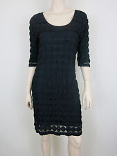 NWT $118 MAX EDITION Tiered Lace Overlay Dress Round Neck 3/4 Sleeve Black LP
