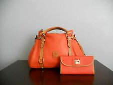 MSRP $500 DOONEY BOURKE 2PC LOT ORANGE PEBBLE/FLORENTINE LEATHER SML BAG+WALLET