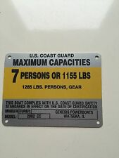 United Marine Corp Boat Capacity Plate~Tag 7 Person or 1155 Lbs~Genesis 2002 CC