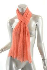 """ERIC BOMPARD CASHMERE Coral 100% Pure Cashmere Eyelet Scarf - PRETTY - 73"""" x 15"""""""