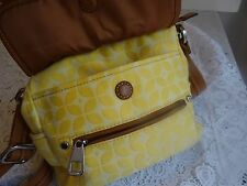 Fossil Yellow Jacquard With Brown Leather Trim Convertible Satchel Organizer Bag