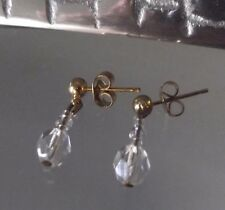 HANDCRAFTED CRYSTAL DROP EARRINGS, SHORT LENGTH, GOLD PIERCED STUD, NEW, AUST