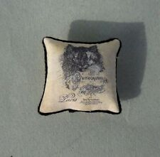 DOLLHOUSE MINIATURE ~ BLACK CAT FRENCH  PILLOW  1:12