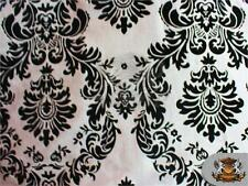 "Taffeta Damask Flocking Fabric 06 BLACK WHITE Backing/ 60"" Wide Sold by the yard"