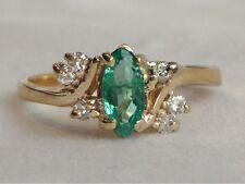 14K Brazilian Emerald & Diamond Ring 1/2Ct Marquise & Round Sz 6.5