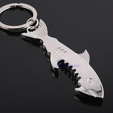 Creative Lightwood Fish Corkscrew Metal Tool Key Chain Ring Lovers Key Ring Gift