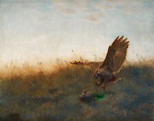 Liljefors Bruno Eagle Owl Hunting A Hare Canvas 16 x 20    #7062