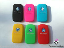 SILICONE KEY FOB COVER RUBBER CASE MK5 MK6 GOLF BEETLE EOS POLO GREEN BLUE PINK